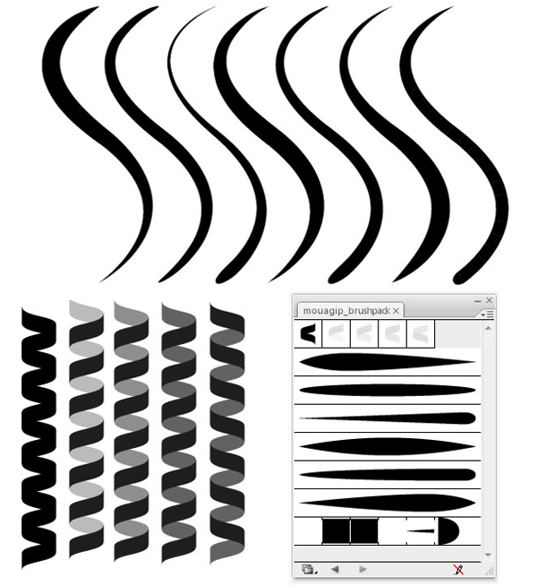 Line Art Download Free : Coil and line illustrator brushes free 벡터 이미지 psd