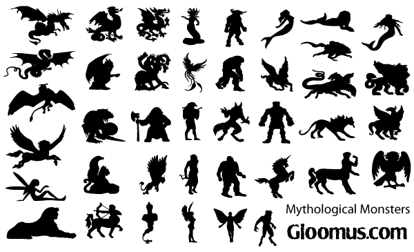 Vector Mythological Monsters Silhouettes