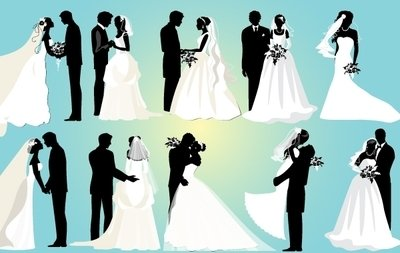 Marriage Couple Black And White Pack Vector Free Download