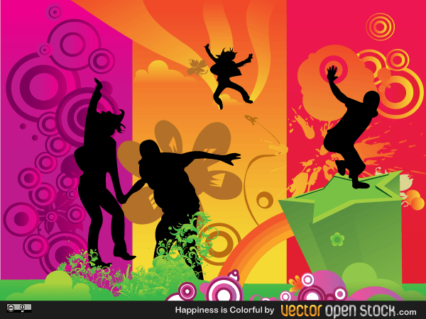 Happiness is Colorful - Vector Fun People Illustration