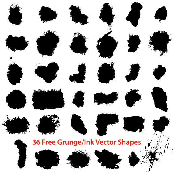 Free Grunge Ink Draw Shapes, vector files - 365PSD.com