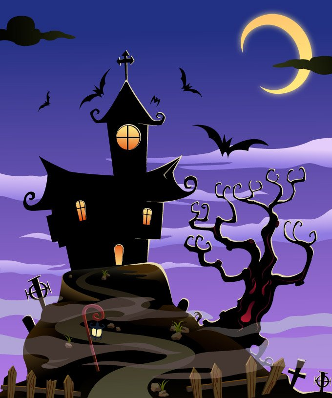 Spooky House Halloween Background