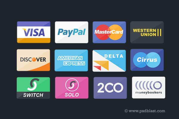Credit Card, Debit Card and Payment Icons Set (PSD)