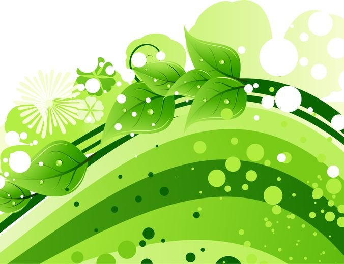 Green Leaves with Abstract Wave Background