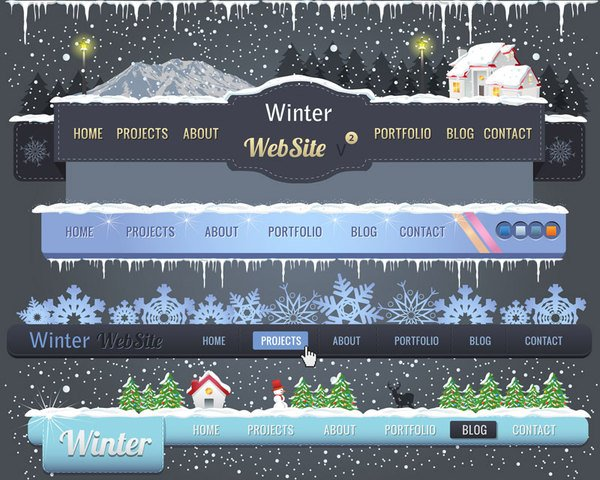 Christmas navigation bar vector-2