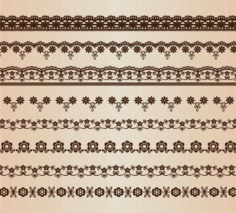 Retro Floral Lines Vector Set