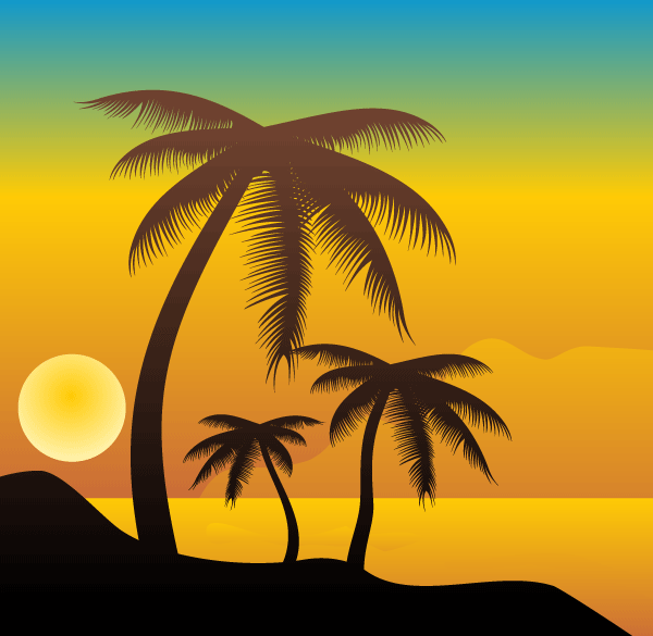 Palm trees on the beach vector file 365psd voltagebd