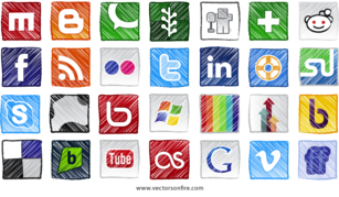 Grungy Social Sites Icons (28 Icons)