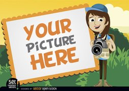 Picture frame with camera girl