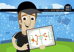 Football trainer shows strategy on board