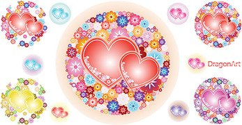 Vector Flowery Hearts