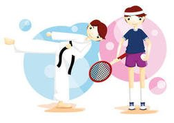 Karate And Tennis Sport Vector Boys