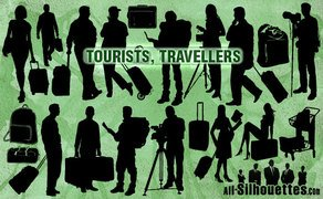 21 Vector Tourists Travelers Silhouettes