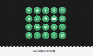 Green Nature Social Media Icons (Psd)