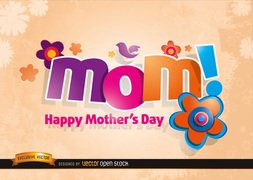 Mom logo with Flowers in Mother's day