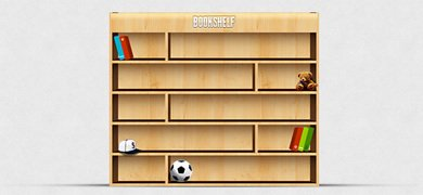 Bookshelf PSD Illustration