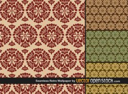 Seamless Retro Wallpaper Free Vector Pack