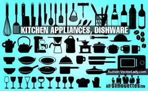 52 Kitchen appliances, dishware