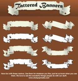 Tattered Banners Banners Symbols Vector Tattered Banners