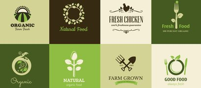 16 organic green food logos - all
