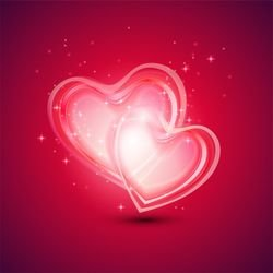 Abstract Background with Two Hearts for Valentines Day