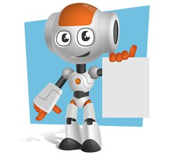 Robot Vector Character Holding a Note