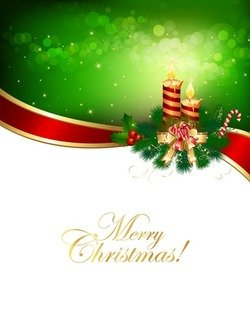 Vector Christmas Background with Ribbon and Candle