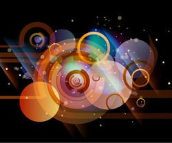 Abstract Dark Background with Colorful Circles