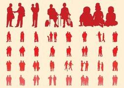 People In Groups Silhouettes Set