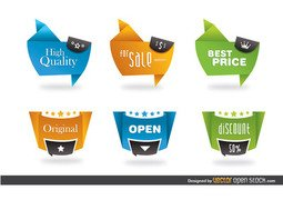 Modern origami style labels