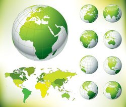 Globe and World Map Green