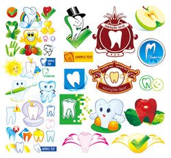 Cartoon icon vector material to protect the teeth