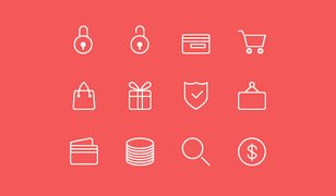 24 Ecommerce Line Icons (PSD, AI)