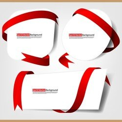 Red Ribbon And Cardboard Vector 3