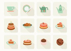 Free Flat Cake And Tea Vector Icons