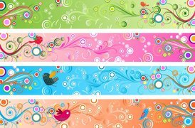Retro Floral Banners