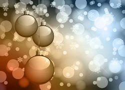 Christmas Balls with Glowing Lens Background