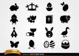 Cute Easter Icon Pack Silhouette
