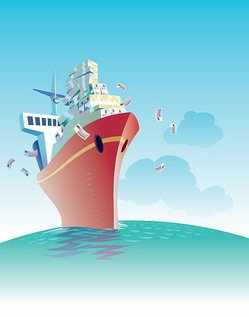 Commercial Theme Vector Illustration of ship material