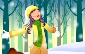 X-mas Vector. Girl is standing around snowflakes