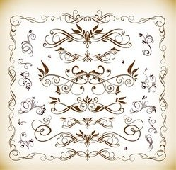 Vector Set of Floral Ornaments