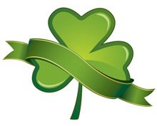 Glossy shamrocks with banners