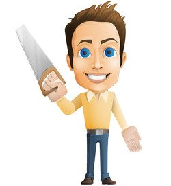 Casual Guy Vector Holding Saw