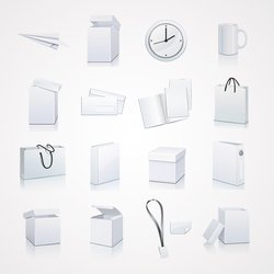 White Packaging and Stationery Vector Elements: Box and Bag