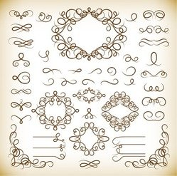 Calligraphic Decorative Elements Vector Graphics Set