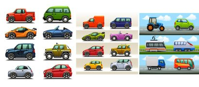22 Modern Cars & Trucks Vectors Set - Illustrator