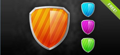 Glossy Shield PSD Icons