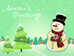 Snowman with Christmas Trees and Gifts