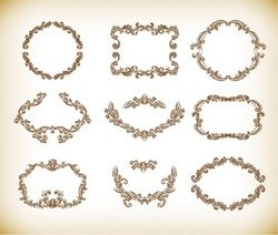 Floral Vintage Frames Vector Graphics Set