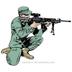 SOLDIER WITH RIFLE VECTOR.eps